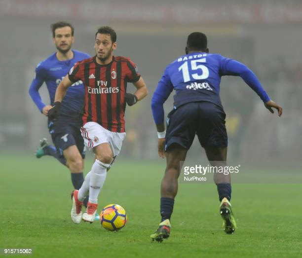 Hakan Calhanoglu of Milan player Bastos of Lazio player and Marco Parolo of Lazio player during the match valid for Italian Football Championships...