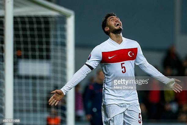Hakan Calhanoglu of Turkey celebrates his goal during the UEFA EURO 2016 Group A Qualifier match between Czech Republic and Turkey at Letna Stadium...