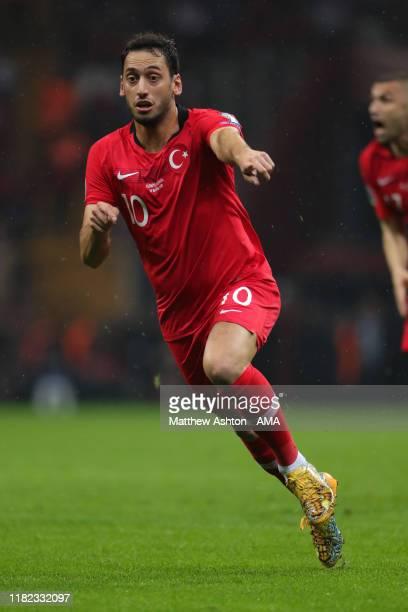 Hakan Calhanoglu of Turkey during the UEFA Euro 2020 qualifier between Turkey and Iceland at Ali Sami Yen Arena on November 14, 2019 in Istanbul,...