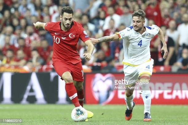 Hakan Calhanoglu of Turkey in action against Marc Rebes of Andorra during UEFA Euro 2020 European Championship Qualifiers Group H match between...