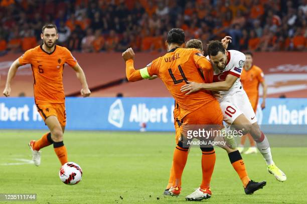 Hakan Calhanoglu of Turkey in action during the 2022 FIFA World Cup Qualifiers Group G soccer match between Netherlands and Turkey at the Johan...