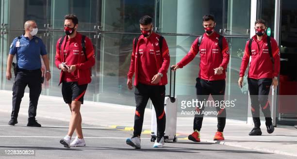 Hakan Calhanoglu of Turkey is seen as Turkey National Football Team departs to Belgrade in Sivas, Turkey on September 05, 2020 ahead of UEFA Nations...