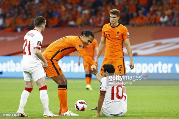 Hakan Calhanoglu of Turkey is seen during the 2022 FIFA World Cup Qualifiers Group G soccer match between Netherlands and Turkey at the Johan Cruijff...