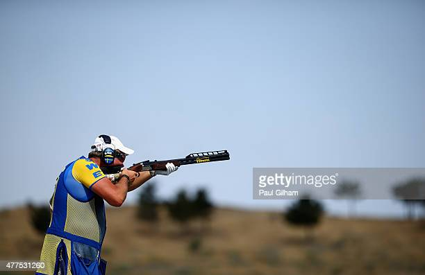 Hakan Dahlby of Sweden practises Trap Shooting during day six of the Baku 2015 European Games at the Baku Shooting Centre on June 18 2015 in Baku...