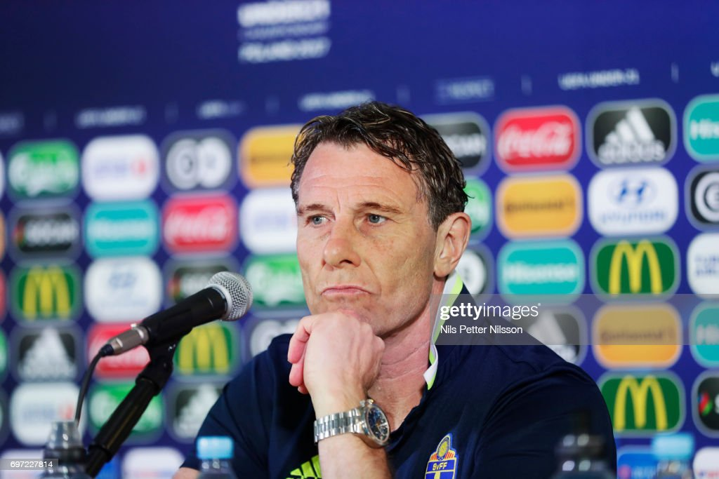 Hakan Ericsson, head coach of Sweden during the Swedish U21 national team MD-1 press conference at Arena Lublin on June 18, 2017 in Lublin, Poland.
