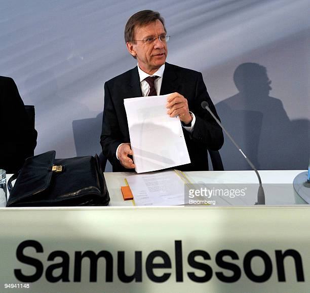 Hakan Samuelsson chief executive officer of MAN AG arrives for the presentation of the company's 2008 results in Munich Germany on Thursday Feb 19...
