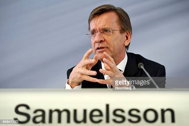 Hakan Samuelsson, chief executive officer of MAN AG, speaks at the presentation of the company's 2008 results in Munich, Germany, on Thursday, Feb....