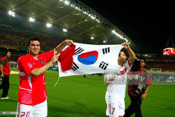 Hakan Unsal and Okan Buruk of Turkey celebrate his victory during the third place of World Cup match between South Korea and Turkey on 29th June 2002...