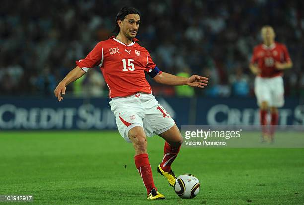 Hakan Yakin of Switzerland in action during the international friendly match between Switzerland and Italy at Stade de Geneve on June 5 2010 in...