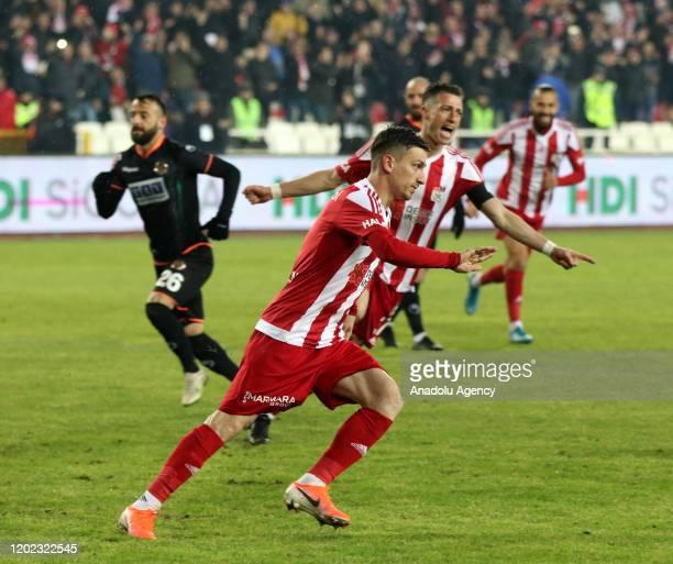 Hakan Yandas of Demir Grup Sivasspor celebrates his goal during the Turkish super Lig soccer match between Demir Grup Sivasspor and Aytemiz...