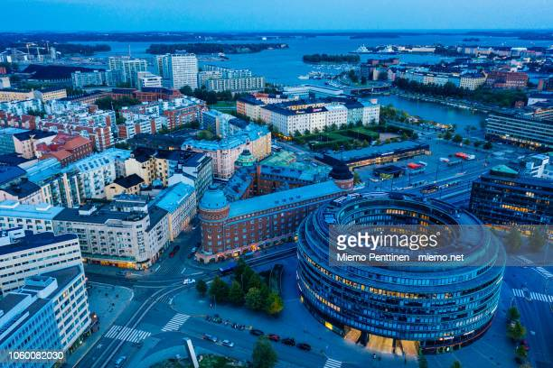 hakaniemi district in helsinki in an aerial view during blue hour - helsinki stockfoto's en -beelden