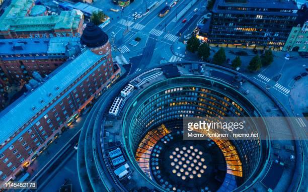 hakaniemi district in helsinki in an aerial view during blue hour - helsinki foto e immagini stock