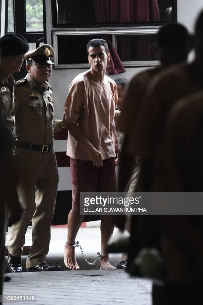 Hakeem al-Araibi , a Bahraini refugee and Australian resident, is escorted to a courtroom in Bangkok on February 4, 2019. - Hakeem al-Araibi, who was...