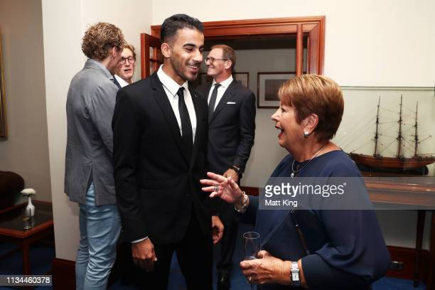 Hakeem alAraibi meets Lady Lynne Cosgrove during an Australian Olympic Committee function honouring the Governor General of Australia Peter Cosgrove...