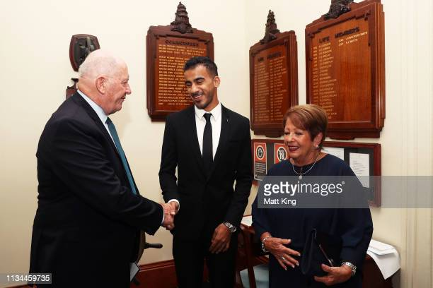 Hakeem alAraibi meets the Governor General of Australia Peter Cosgrove and Lady Lynne Cosgrove during an Australian Olympic Committee function...