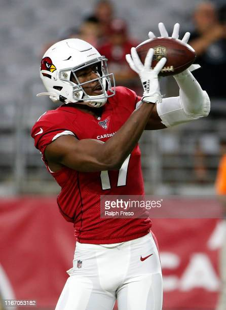 Hakeem Butler of the Arizona Cardinals catches a pass prior to the start of the NFL preseason game against the Los Angeles Chargers at State Farm...