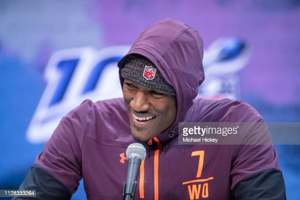 Hakeem Butler #WO07 of the Iowa State Cyclones is seen at the 2019 NFL Combine at Lucas Oil Stadium on March 1 2019 in Indianapolis Indiana