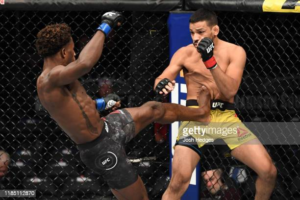 Hakeem Dawodu of Canada kicks Julio Arce in their featherweight bout during the UFC 244 event at Madison Square Garden on November 02 2019 in New...