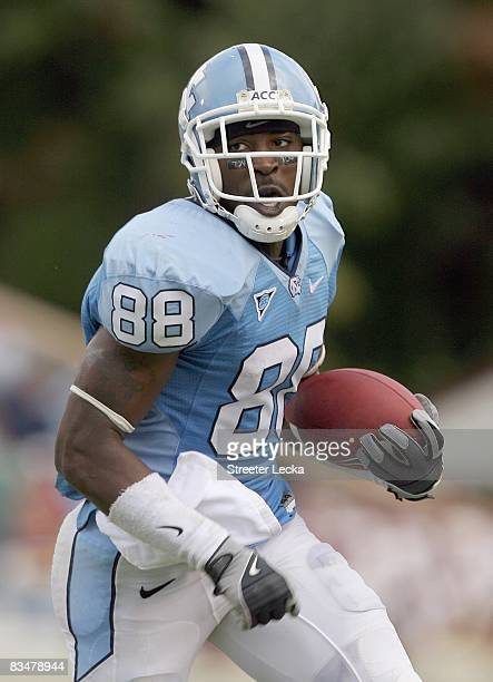 Hakeem Nicks of the North Carolina Tar Heels carries the ball during the game against the Boston College Eagles at Kenan Stadium on October 25, 2008...