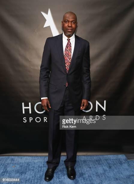 Hakeem Olajuwon arrives at the Houston Sports Awards on February 8 2018 in Houston Texas