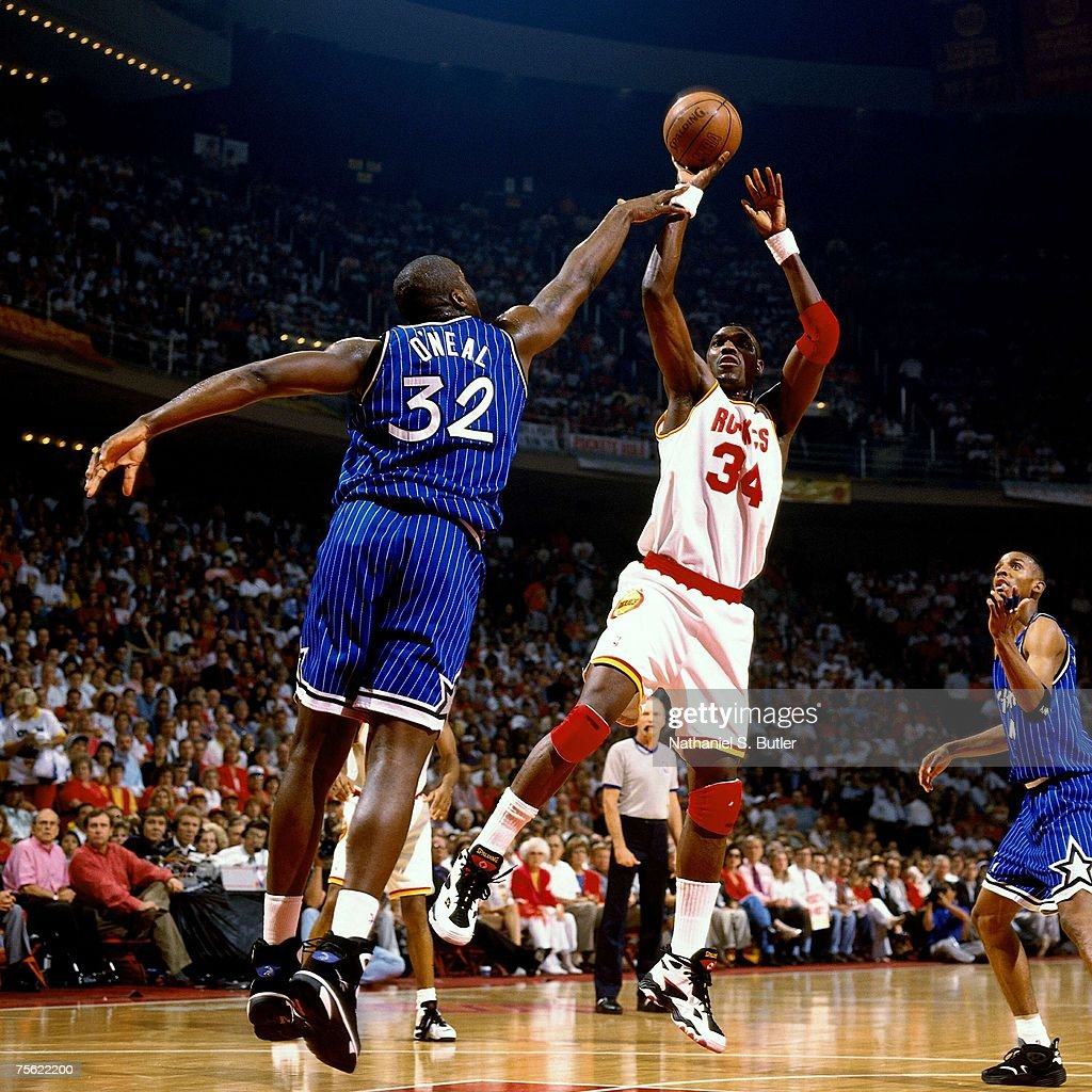 Houston Rockets Nba Championships: Hakeem Olajuwon Of The Houston Rockets Attempts A Shot