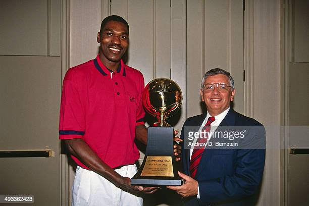Hakeem Olajuwon of the Houston Rockets is awarded the 1994 NBA Finals Most Valuable Player award on June 23 1994 in Houston Texas NOTE TO USER User...