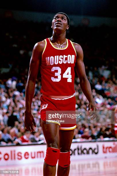 Hakeem Olajuwon of the Houston Rockets stands against the Portland Trailblazers circa 1985 at the Veterans Memorial Coliseum in Portland Oregon NOTE...