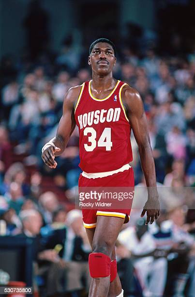 Hakeem Olajuwon of the Houston Rockets walks against the Sacramento Kings on March 4 1987 at Arco Arena in Sacramento California NOTE TO USER User...