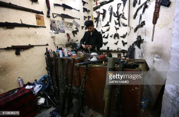 Hakim, an Iraqi Kurdish man, works at his workshop beneath the main market of Erbil, the capital of the autonomous Kurdish region of northern Iraq,...