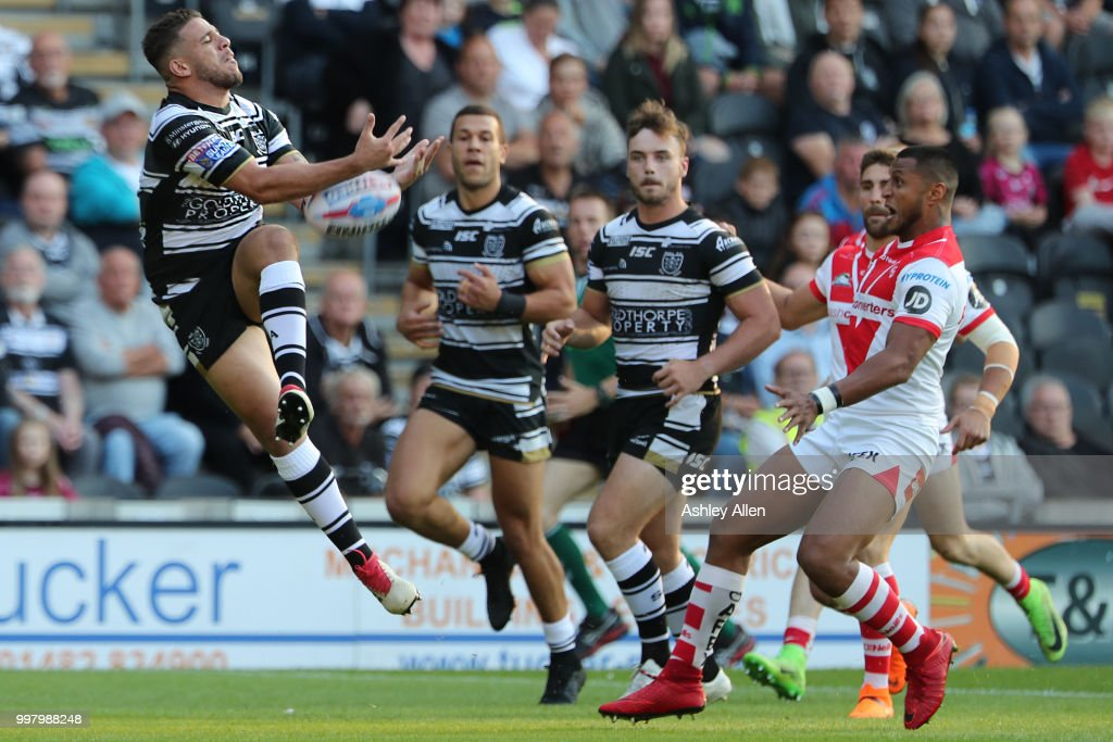 Hakim Miloudi of Hull FC drops the ball during the BetFred Super League match between Hull FC and St Helens Saints at the KCOM Stadium on July 13, 2018 in Hull, England.