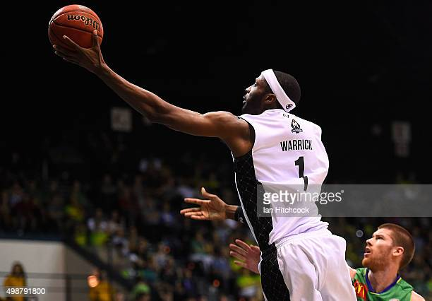 Hakim Warrick of Melbourne United attempts a layup during the round eight NBL match between the Townsville Crocodiles and Melbourne United on...