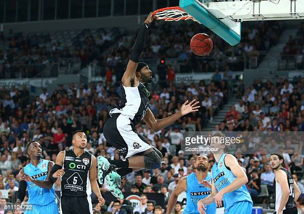 Hakim Warrick of Melbourne United dunks the ball during the NBL Semi Final match between Melbourne United and the New Zealand Breakers at Hisense...