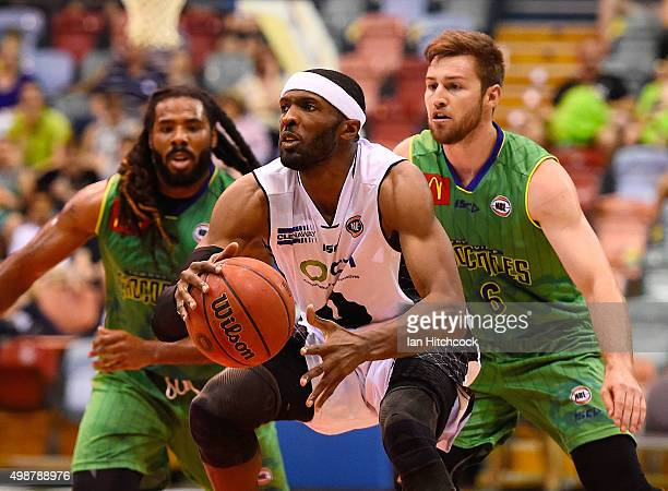 Hakim Warrick of Melbourne United looks to pass the ball during the round eight NBL match between the Townsville Crocodiles and Melbourne United on...