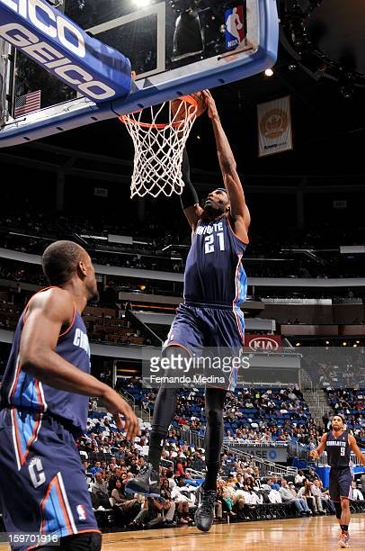 Hakim Warrick of the Charlotte Bobcats dunks against the Orlando Magic on January 18 2013 at Amway Center in Orlando Florida NOTE TO USER User...