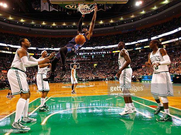Hakim Warrick of the Charlotte Bobcats dunks the ball against the Boston Celtics during the game on January 14 2013 at TD Garden in Boston...