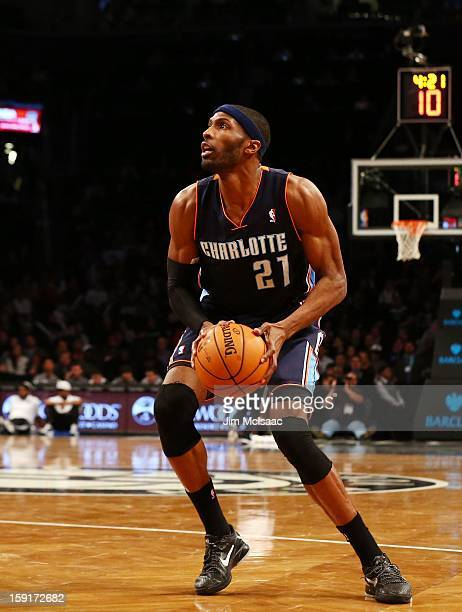 Hakim Warrick of the Charlotte Bobcats in action against the Brooklyn Nets at Barclays Center on December 28 2012 in the Brooklyn borough of New York...