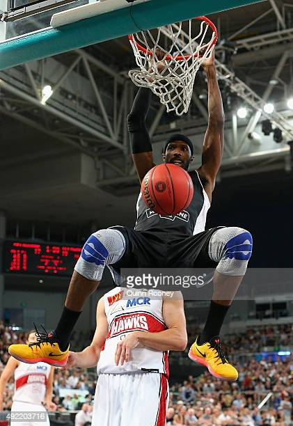 Hakim Warrick of United dunks the ball during the round one NBL match between Melbourne United and the Illawarra Hawks at Hisense Arena on October 11...