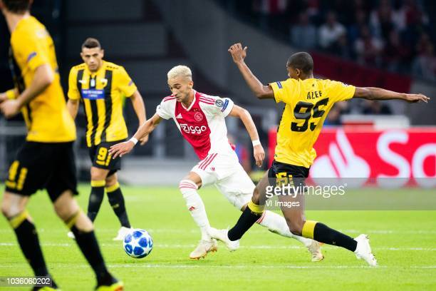 Hakim Ziyech of Ajax Alef of AEK Athens FC during the UEFA Champions League group E match between Ajax Amsterdam and AEK FC at the Johan Cruijff...