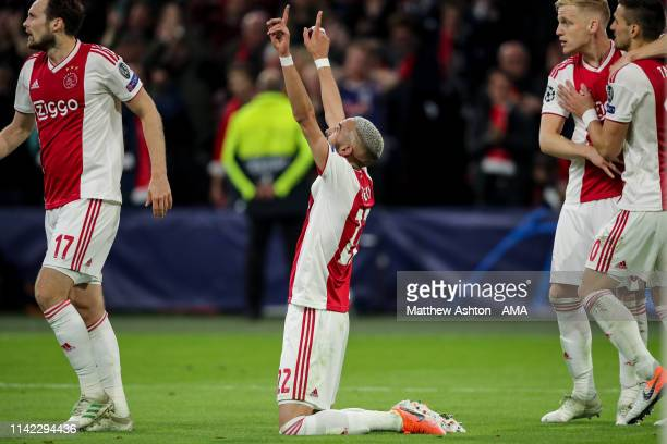 Hakim Ziyech of Ajax Amsterdam celebrates after scoring a goal to make it 20 during the UEFA Champions League Semi Final second leg match between...