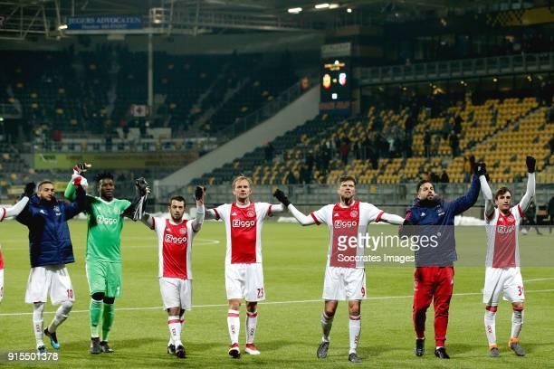 Hakim Ziyech of Ajax Andre Onana of Ajax Amin Younes of Ajax Siem de Jong of Ajax Klaas Jan Huntelaar of Ajax Kostas Lamprou of Ajax Nicolas...