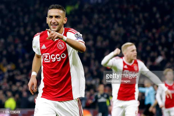 Hakim Ziyech of Ajax celebrates 1-1 during the UEFA Champions League match between Ajax v Real Madrid at the Johan Cruijff Arena on February 13, 2019...