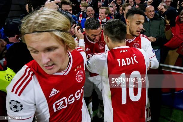Hakim Ziyech of Ajax celebrates 11 with Kasper Dolberg of Ajax Dusan Tadic of Ajax Noussair Mazraoui of Ajax during the UEFA Champions League match...