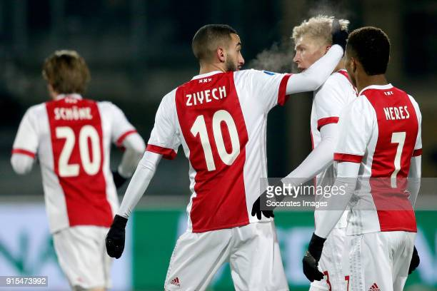 Hakim Ziyech of Ajax celebrates 12 with Rasmus Kristensen of Ajax David Neres of Ajax during the Dutch Eredivisie match between Roda JC v Ajax at the...