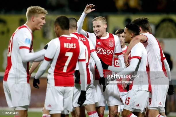 Hakim Ziyech of Ajax celebrates 12 with Rasmus Kristensen of Ajax David Neres of Ajax Donny van de Beek of Ajax Nicolas Tagliafico of Ajax Justin...