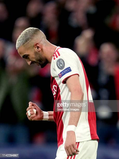 Hakim Ziyech of Ajax celebrates 20 during the UEFA Champions League match between Ajax v Tottenham Hotspur at the Johan Cruijff Arena on May 8 2019...