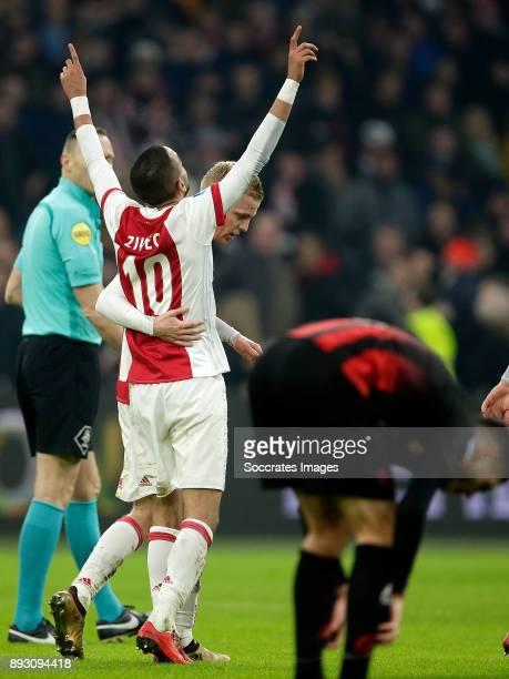 Hakim Ziyech of Ajax celebrates 31 with Donny van de Beek of Ajax during the Dutch Eredivisie match between Ajax v Excelsior at the Johan Cruijff...