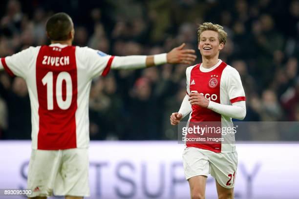 Hakim Ziyech of Ajax celebrates 31 with Frenkie de Jong of Ajax during the Dutch Eredivisie match between Ajax v Excelsior at the Johan Cruijff Arena...