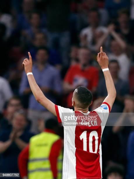 Hakim Ziyech of Ajax celebrates 41 during the Dutch Eredivisie match between Ajax v VVVVenlo at the Johan Cruijff Arena on April 19 2018 in Amsterdam...