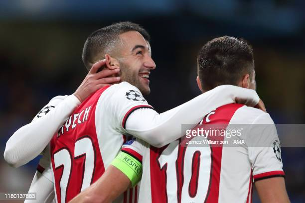 Hakim Ziyech of Ajax celebrates after scoring a goal to make it 1-3 during the UEFA Champions League group H match between Chelsea FC and AFC Ajax at...