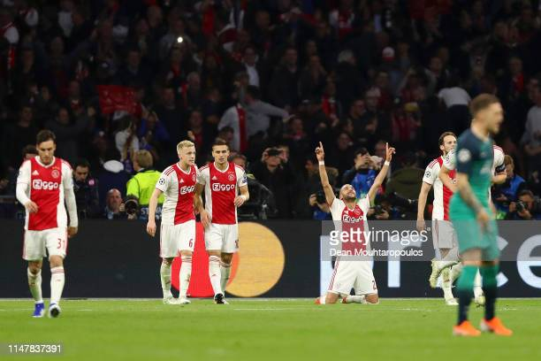 Hakim Ziyech of Ajax celebrates after scoring his team's second goal during the UEFA Champions League Semi Final second leg match between Ajax and...